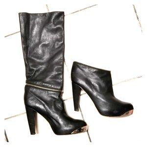 Loeffler Randall black leather 2 in 1 boots sz 9.5